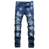 Wholesale Boys Clothes Size Jeans - Fashion men Casual Solid Middle waist jeans Blue Washed handwork Ripped long jeans Young boy Slim Trousers Plus Size Clothing J105