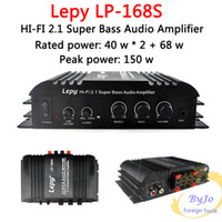 Wholesale Auto Power Amplifiers - lepy LP-168S Mini HiFi 12V 40W x2+ 68W RMS output power amplifier 2.1CH Car Auto Home Audio Stereo Bass Speaker+ Power Adapter