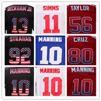 10 Eli Manning 13 Odell Beckham Jr. 56 Lawrence Taylor American College Football Cuciture da uomo Ricamo Elite Mens Sports Team Maglie