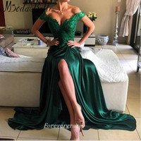 Wholesale Satin Bright Orange Short Dresses - Emerald Green Colour Long Prom Dress Open Side Lace Arabic Style Bright Girls Wear Special Occasion Cheap Party Dress Plus Size