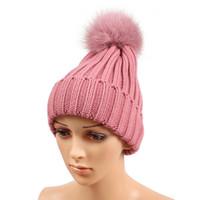 Wholesale top hat for sale - Classic Winter Beanie Tight Knitted Big Corful Fox Fur Pom Poms Hat Women Cap Winter Beanie Headgear Headdress Head Warmer Top Quality