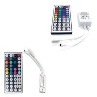 conector para rgb led strip light venda por atacado-DC12V Mini 44Key Conectores Duplos LED RGB Controlador IR Controlador Remoto Para 3528 5050 RGB LED Tira luz