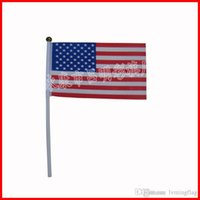 Wholesale 14 cm USA flag small size country flag world flag America hand flag D polyster mini flag