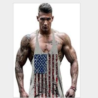 Wholesale Distressed Flag - Wholesale- Distressed American USA Flag Men Tank Top T-shirt Men Undershirt Bodybuilding Tank Top T-Shirt Men Vest Fitness Camisas BX02