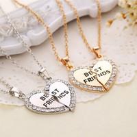 en iyi dost kalp kolye gümüşü toptan satış-Toptan-1 Takım Best Friend Kolye Kolye Kalp Gümüş Rhinestone BFF Dostluk Yarım bir Kişi Kolye Erkekler Kadınlar için Moda Takı