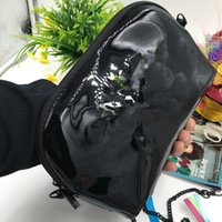 Wholesale Black Embroidered Coat - Classic pattern black PU Coat of paint chain Bag women shoulder bag with famous logo Cosmetic Makeup handbag VIP gift bag