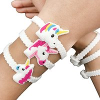 Wholesale Plastic Charms For Kids - hot sale Pack of 8 Unicorn Bracelets Wristbands for Kids Birthday Party Supplies Favors, Toys and School Classroom Rewards