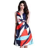 elbise pist diz toptan satış-YÜKSEK KALITE Yeni Moda 2017 Yaz Sonbahar Tasarımcı Pist Elbise Kadınlar Kolsuz Çiçek Baskılı Parti Elbise Diz Boyu Elbise