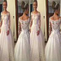 Fashion Designer economici 2018 Ball Gown Abito da sposa Plus Size Bateau Applique in pizzo Backless Corte dei treni Abiti Turchia Sposa Abiti da sposa