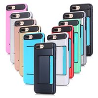 Wholesale Wholesale Soft Slide - Dual Layer Armor Hard PC TPU Soft Back Phone Case with Slide Card for Iphone 5s 6 6s plus 7 7plus Samsung S6 S6 Edge S7