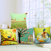 Wholesale Bird Cushions - Trees Flowers Cushion Cover Nordic Style Square Thickened Linen Birds Pillow Cover Office Sofa Car Decor Throw Pillow Case
