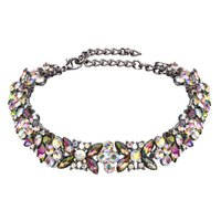 Wholesale Colorful Metal Collars - hot sale jewelry metal luxury bling glittering colorful rhinestone flower crystal velvet diamond fashion collar choker necklace
