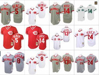Wholesale Bench Back - Red white Throwback 14 Pete Rose 5 Johnny Bench Morgan Tony Perez Jersey , Men's Mitchell And Ness Grey 1969 Cincinnati Reds 1990 Turn Back