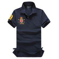 t-shirt marques célèbres achat en gros de-Marque Célèbre Grand Cheval Hommes Chemise À Manches Longues Solide Chemises Camisa Masculina Décontracté Polyester Tops T-shirts