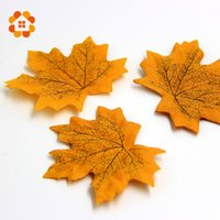 Wholesale Green Leaves For Crafts - Wholesale- 100Pcs lot Artidicial Silk Maple Leaves Multicolor Fake Fall Leaf For Art Scrapbooking Wedding Party Decoration Craft