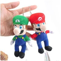 Wholesale Mario Keyrings - 10cm 4 inches Super Mario Plush toys keychain Pendant Mario Stuffed Animals keyring EMS shipping