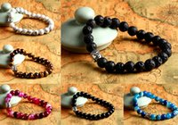 Wholesale Precious Stone Beaded Chains - Mens Hero Bracelet 8mm Natural Lava Rock Stone Turquoise, Black Onyx, Red Dragon Veins Agate, Tiger Eye Semi Precious stone Jewerly