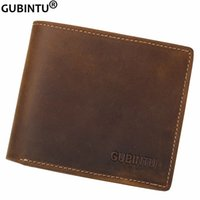 Carte De Crédit Cheval Prix-NOUVEAU Men's Fashion Crazy Horse Leather Bifold Wallet Porte-cartes de crédit Zipper Purse