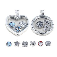 Wholesale Sterling Silver Heart Locket Pendant - DIY pandora charms necklace S925 silver locket necklaces pandora circular LOVE cage pendants sweater chains PD-X001