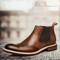 Wholesale Slip Shoes Men Cowboy - Ankle Boot Men High Boots to High-top Men Leather Head Pointed Leather Winter Boots Tide Martin Men's Shoes Cowboy Boots