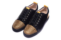 Wholesale Denim Diamonds Shoes - Luxury Brand Red Bottom Sneakers Lows Gold Suede Glaze Casual Mens Womens Shoes Flower Diamond Trainers Footwear Flat Shoes 36-46