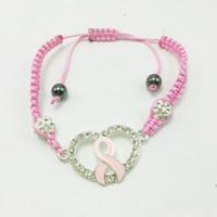 Wholesale Cancer Shamballa - Hot charm bangle bracelets shamballa Crystal braided bracelets Pink Ribbon Breast Cancer Awareness Bracelets free shipping