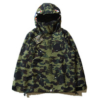 Wholesale Men Vest Outwear - Teenager Hot 4 Colors Camo Jackets Men's Camouflage Jackets Shark Head Jacket Dust Coat Wind Breaker Casual Hooded Outwear