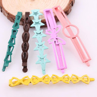 Wholesale Middle East Paintings - Free shipping Scrub BB folder paint cartoon word clip hair ornaments head ornaments FJ162 mix order 60 1set=6 pieces