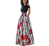 Wholesale High Fashion Umbrella - New Fashion Women African Print Long Skirt Ankara Dashiki High Waist A Line Maxi Long Umbrella Skirt Ladies Jupe Longue Femme