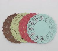 fırın dekorasyonları toptan satış-Toptan-SS01606 için 4 Noel Renkler Dantel Çiçek Ekmek Kağıt El Sanatları DIY Scrapbooking / Kart Yapımı / Düğün Dekorasyon / Kek