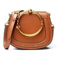 Wholesale Blue Female Rings - Aprilla new ancient saddle bag real leather plain grain ring female handbag cow leather totes shoulder crossbody piggy bag KD97