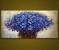 Wholesale Blue Wall Decor Art Canvas - Framed Pure Hand-painted Modern Abstract Art Oil Painting Blue Flowers,For Home Wall Decor On High Quality Canvas size can customized