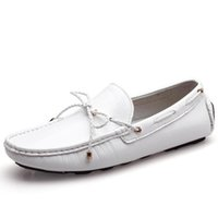 chaussures pour bateaux mocassins cuir achat en gros de-Nouvelle marque été Casual haute qualité hommes en cuir véritable mocassins à glissière conduite chaussures Fahion bateau chaussures hommes à la main mocassins