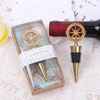 Wholesale opener stopper wine - Golden Compass Wine Stopper Wedding Favors And Gifts Wine Bottle Opener Bar Tools Souvenirs For Party Easter XL-G241