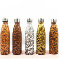 Wholesale Thermal Flasks Wholesale - 500ml Leopard Cola Bottle Water Bottle Vacuum Flask Cup Sports 304 Stainless Steel Cola Shape Mugs Vacuum Insulation Cups CCA6449 50pcs