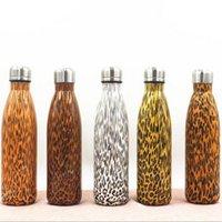 Wholesale Vacuum Water Flask - 500ml Leopard Cola Bottle Water Bottle Vacuum Flask Cup Sports 304 Stainless Steel Cola Shape Mugs Vacuum Insulation Cups CCA6449 50pcs