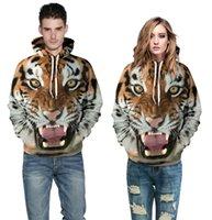 Wholesale Mens Hoddies - Fashion Tiger hoddies for men women lovers 3D print Pullover Punk Mens hoodie coat Wholesale cartoon hoodies sweatshirts