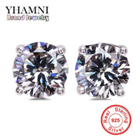 Wholesale Diamond Engagement Wedding - YHAMNI Original Solid 925 Silver Stud Earrings Set 1 Carat CZ Diamond Earring For Girls Women Engagement Wedding Jewelry EY4