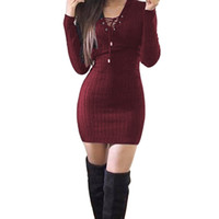 Wholesale Sweater Robe - Wholesale- Winter Women Ladies Sweaters Dress Long Sleeve V-Neck Bandage Knitted Bodycon Stretch Party Top Robe Vestido Femininos Long Pull