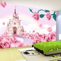 rosas de papel de parede para quarto venda por atacado-Personalizado Foto Papel De Parede Para Paredes 3 D Rose Castelo Dos Desenhos Animados Princesa Quarto Quarto de Crianças Quarto Não-tecido Papel De Parede Mural Crianças