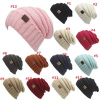 Wholesale Hat Folding - Unisex CC Trendy Hats Winter Knitted Beanie Label Winter Knitted Wool Cap Unisex Folds Casual CC Beanies Hat Solid Hat