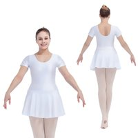 Wholesale Dance Performance Leotard Costume - Nylon Lycra Short Sleeve Ballet Dancing Leotard Dress Girls Dancewear Ladies Performance Costume Full Sizes 21 Colors Available