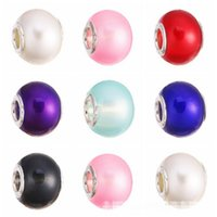 Wholesale Big Hole Pearls - Mixed Colors 5mm silver Matted Pearl Murano big Hole Beads Slide Charms fit DIY Europe Bracelets necklaces XZ101