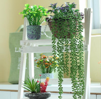 """Wholesale Hanging Flowers String - 12pcs 28"""" Hanging Artificial String-of-pearls Wall Flower Ivy Garland Vine Greenery For Wedding Home Office Bar Decorative"""