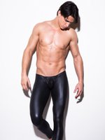 leggings de homens vermelhos venda por atacado-Frete grátis por atacado Moda Mens Preto / Vermelho Faux Patent Leather Skinny Calças Lápis PU Látex Trecho Leggings Homens Sexy Clubwear Bodywear