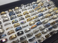 Wholesale Gold Men Rings Design - Wholesale 50pcs lots Fashion Mix Design Stainless steel rings Jewelry For Men Women Gift Ring Wedding ring