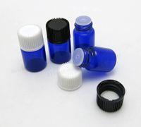 Wholesale Mini Oil Paintings - New Arrival!! 100 X 2ML Mini Paint Blue Glass Essential Oil Bottle Orifice Reducer & cap Blue Small Glass Vials