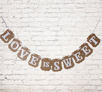 Wholesale Love Sweet Wedding Banner - Wholesale-1 Set Love Is Sweet Bunting Wedding Banner Letter Garland Banner Photo Booth Props Wedding Party Favor Decoration Paper