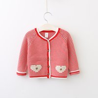 Wholesale Baby Girl Striped Sweaters - Autumn 2017 Baby Girls Striped Cardigan Kids Girls Knit Heart Outwear Babies Fashion Button Sweater childrens clothing