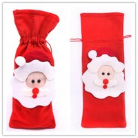Wholesale Short Plastic Bottles - New Arrive Red Wine Bottle Cover Bags Christmas Dinner Table Decoration Home Party Decors Santa Claus
